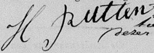 Handtekening van Hendrik Rutten (1837-1896) in 1860